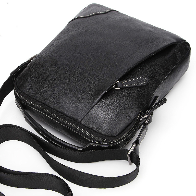 Nuevo Color sólido bolso de hombro de cuero genuino de vaca de cuero portátil bolso de mensajero de cera de aceite de cuero de negocios Casual bandolera