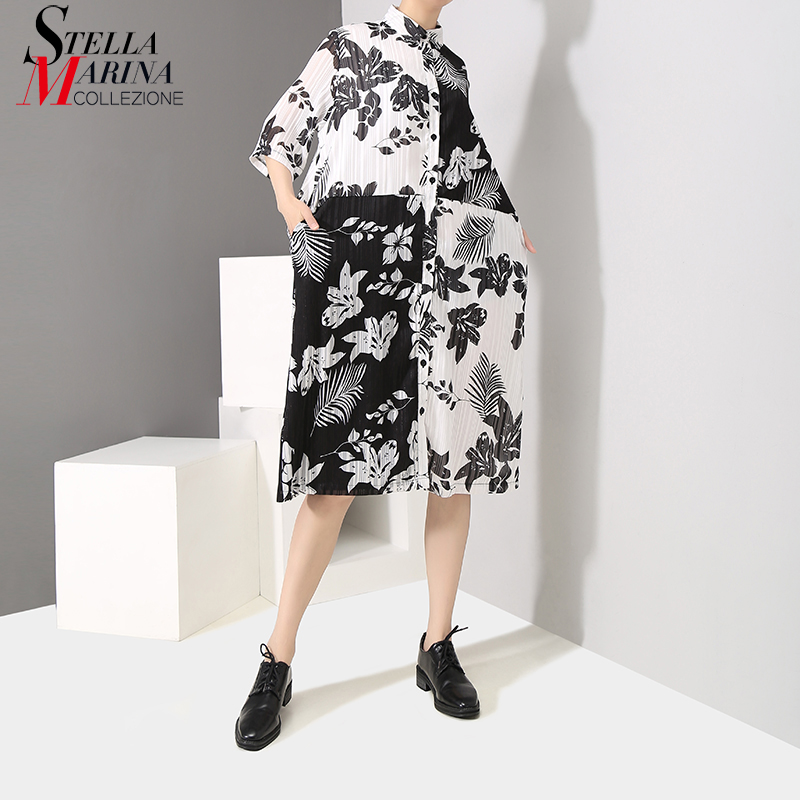 922573884dc9 2019 Korean Style Women Summer Multiclor Shirt Dress Half Sleeve Floral  Printed Female Plus Size Loose