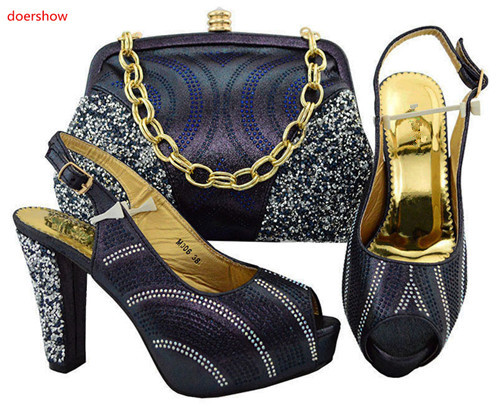 doershow D.blue Shoes and Bag To Match Italian Matching Shoe and Bag Set African Wedding Shoes and Bag To Match SGF1-38 doershow italian matching shoes and bag set african wedding shoe and bag set italy shoe and bag set summer women wi1 8