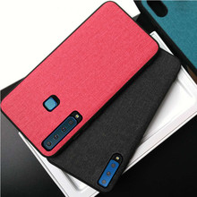 For Samsung A7 2018 Case Shockproof Soft TPU Classic Fabric Back Cover sFor Galaxy
