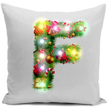 Christmas Letters Throw Cushion Cover 45cmx45cm Plush Pillowcase Cover for Office Home Decor Lights Cushions Cover XF464-F(China)