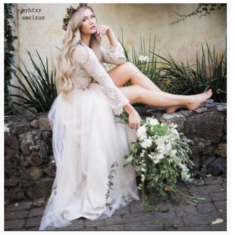 Cheap Simple Wedding Dress 2019 Champagne Long Sleeves Lace-top Plus Size Elegant Floor Length Buttons Vestido De Novia Playa High Resilience
