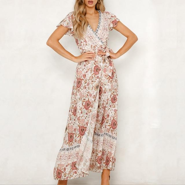 a20a6be09eb 2019 Summer Women Floral Print Boho Dress Sexy V-neck High Split Beach Long  Dress Causal Short Sleeve Sashes Wrap Maxi Dresses