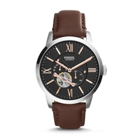 Fossil Men's Townsman Mechanical Stainless Steel Watch with Brown Leather Strap – ME3061