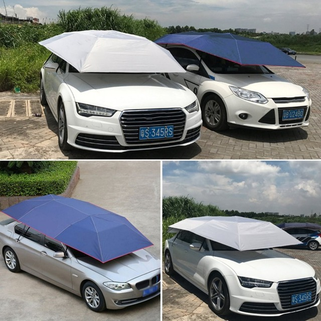 Half Automatic Awning Tent Car Cover Outdoor Waterproof Folded Portable Car Canopy Cover Anti-UV & Half Automatic Awning Tent Car Cover Outdoor Waterproof Folded ...