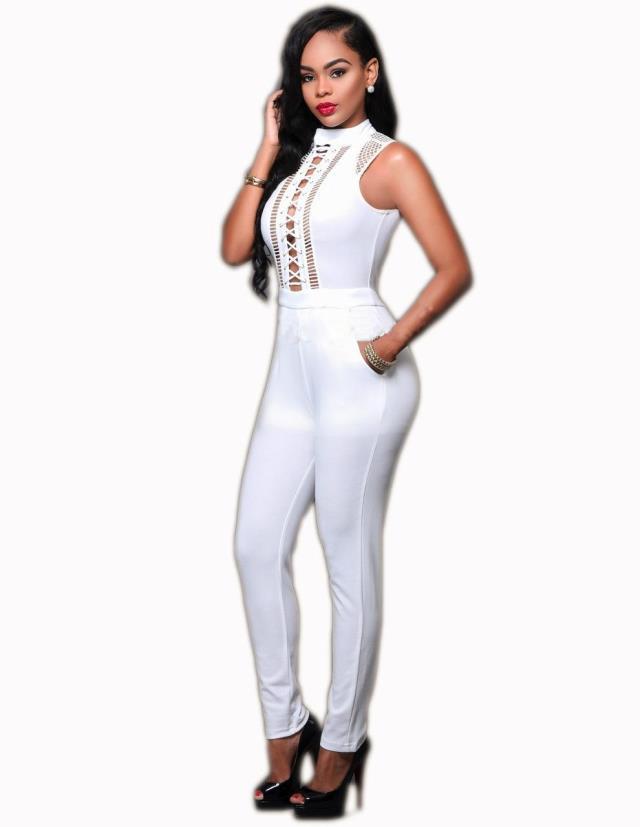 Casual Womens Bandage Jumpsuit Plus Size Overal Women Ladies Clubwear Off Shoulder Jumpsuits White Rompers Pantalon Femme Combi