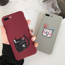 TPU Cute Case For iPhone 7 XS X XR Xs Max 8 Plus Cases Animal Cat Pig Cover 6S 6 Phone Accessories