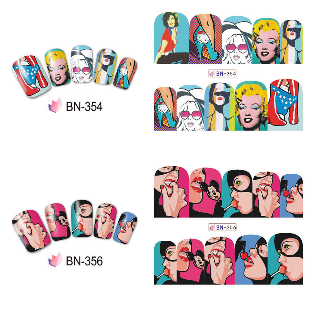 12pcs pop art slider for nails full wraps water transfer nail art sticker diy lips cool