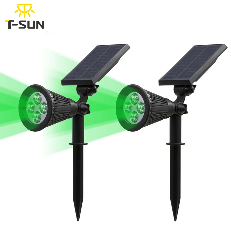 T SUNRISE 2 Pack Green Led Solar Lights Spotlight Lamp Lighting Wall Light outdoor garden solar light decoration led waterproof|Solar Lamps|Lights & Lighting - title=