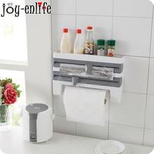 1pcs Kitchen wall mounted type Refrigerator cling film Storage Rack Plastic Paper Towel Holder kitchen supplies