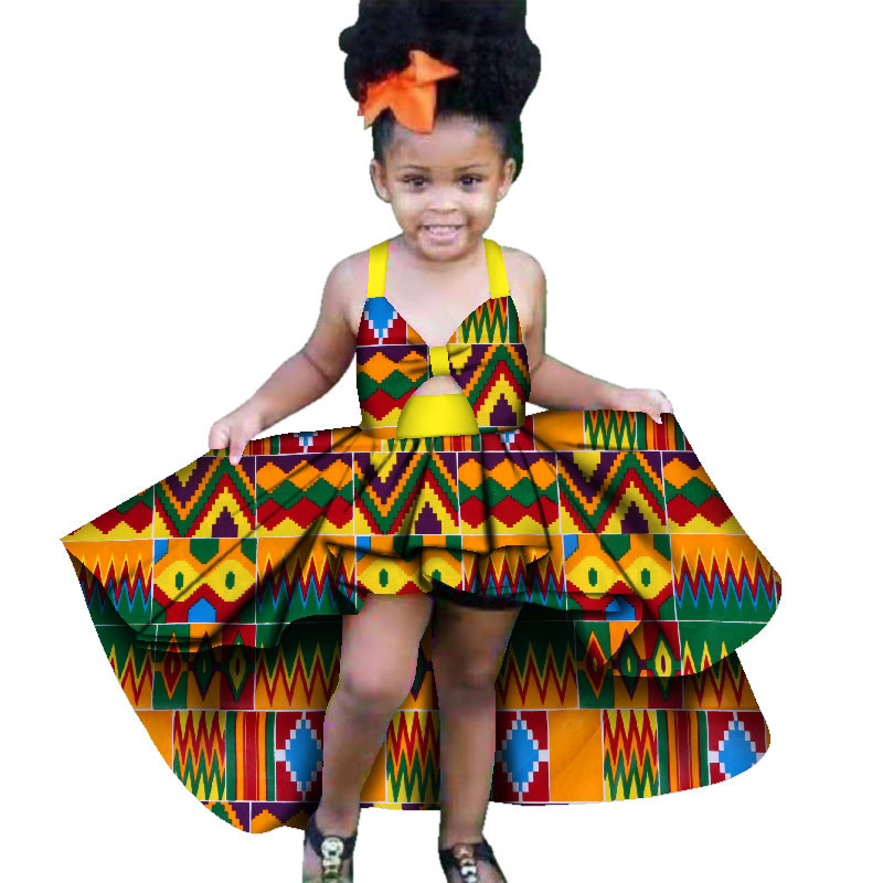 aff351dd8f3c African Dresses for Girls New Fashion Sleeveless Cute Ankara Dresses Mid  Calf Ruffles Traditional African Clothing for Children