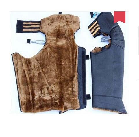 Super épais Chaud genou protecteur, Plein de jambe moto genou protection, PU en cuir en peluche matériel 74*57 cm