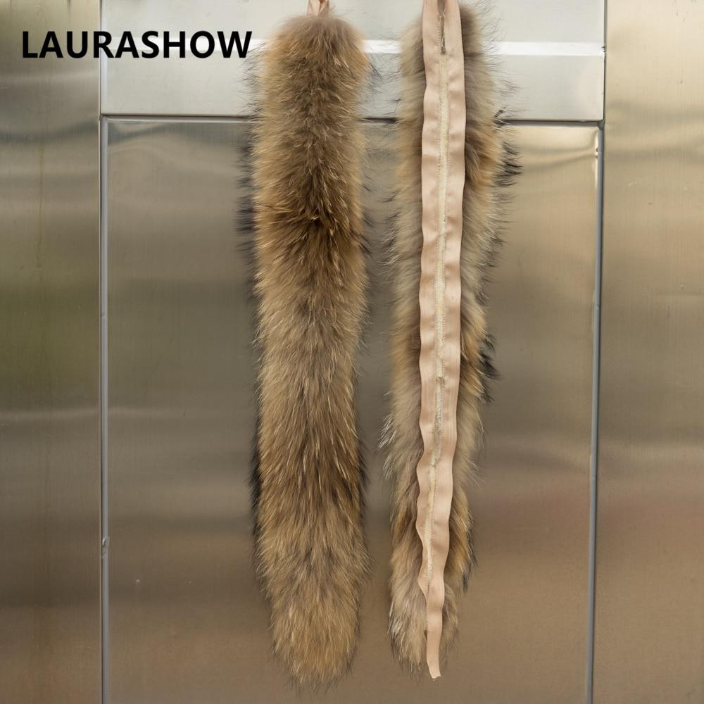 LAURASHOW 70cm jenots kažokādas dabiskas krāsas šalle sieviešu - Apģērba piederumi - Foto 4