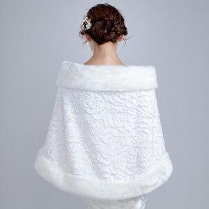 Image 2 - 2020 White Winter Bridal Jackets Women Fur Bolero Wraps Wedding Bride Accessories