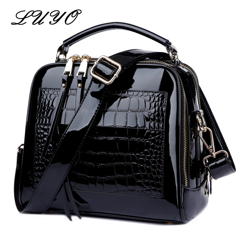 LUYO Crocodile Grain Patent Leather Trunk Crossbody Bags For Women Shoulder Sequin Bag Ladies Handbags Bolsa Feminina Sac A Main
