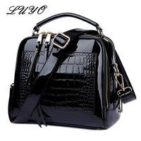 LUYO Crocodile Grain Patent Leather Trunk Crossbody Bags For Women Shoulder Sequin Bag Ladies Handbags Bolsa