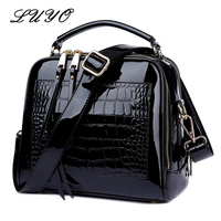 LUYO Crocodile Grain Patent Leather Trunk Crossbody Bags For Women Shoulder Sequin Bag Ladies Handbags Bolsa