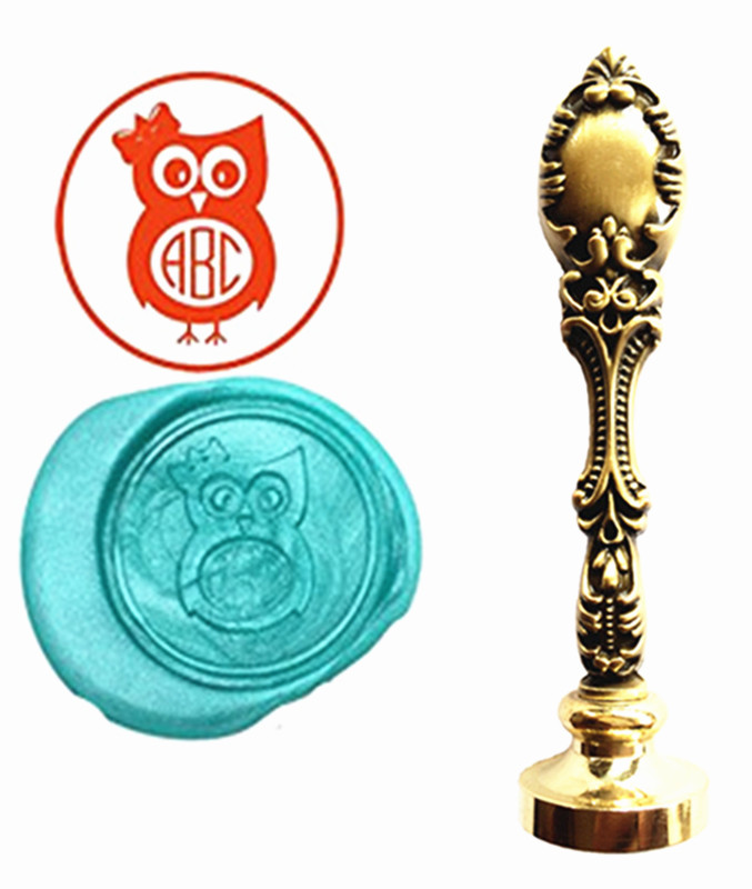 Cute Owl Custom Logo Luxury Vintage Wax Seal Stamps Kit Wedding Invitation Sealing Stamps  Gift 1 design laser cut white elegant pattern west cowboy style vintage wedding invitations card kit blank paper printing invitation