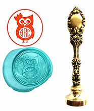Cute Owl Custom Logo Luxury Vintage Wax Seal Stamps Kit Wedding Invitation Sealing Stamps Gift