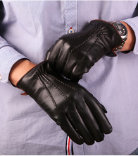 Men Genuine Leather Touch Screen Gloves Top Quality 100% Sheepskin Snow Outdoor Hit Color Edge