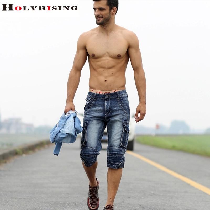 men cargo shorts bermuda homme male fashion shorts Washed denim ...