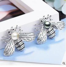 A 40*28MM shell Fashion individual bee brooch and pearl accessories flowers women sterling-silver-jewelry Pearl