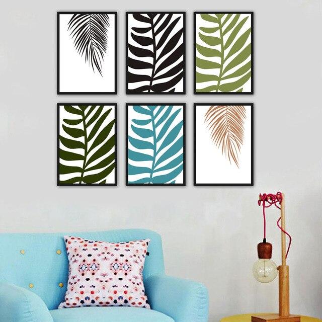 Palm vert feuille toile peinture moderne nordique style for Accessoire deco chambre