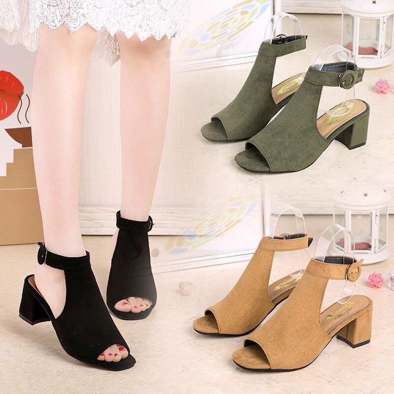 Cuña Las Peep Negro 2019 Mujeres Hebillas Zapatos Peces Medio Boca verde Tacón Mujer Gladiador Sandalias De Verano brown Toe 885qrSyH