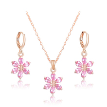 Atreus Best Ing Jewelry Sets Gold Color Austrian Crystal Unusual Striking Flower Pendant Necklace Earrings Whole