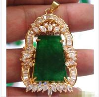 Wholesale price 16new ^^^^Charming 2 Styles Green stone Bead 18KGP Flower CZ Pendant Necklace