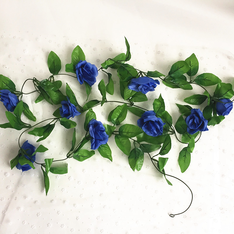 250CM/lot Silk Roses Artificial Flowers With Green Leaves For Home Wedding Decoration 12