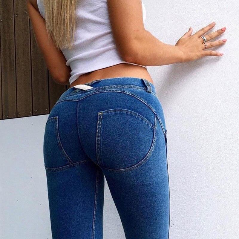S-2XL 2 Colors Jeans Women Skinny Pencil Plus Size Fashion Casual Full Length Zipper Slim