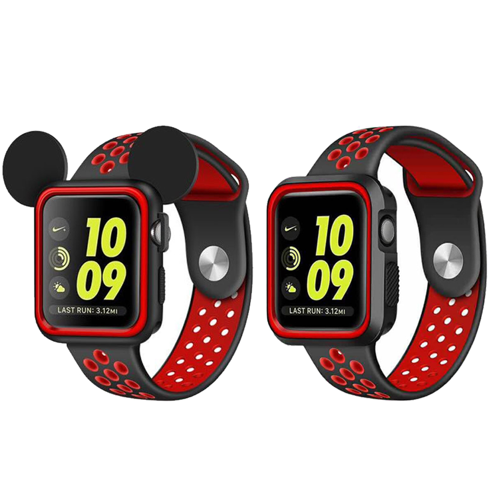 Silicone Watch Strap+Case for Apple Watch Band 42mm 38mm Replacement Band+full screen protector case for iwatch 3/2/1 eimo silicone watch case strap for apple watch band 42mm 38mm bracelet wrist belt full screen protector case for iwatch 3 2 1