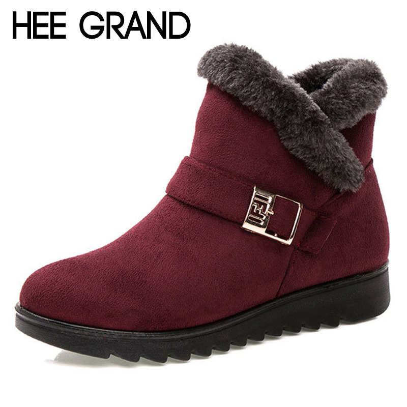 HEE GRAND Women Snow Boots Warm Platform Suede Winter Ankle Boot Casual Slip On Fur Inside Flock Flats Shoes Woman XWX7023 hee grand bling faux fur women snow boots sweet cute style ankle boots winter warm shoes women platform suede snow boots xwm279