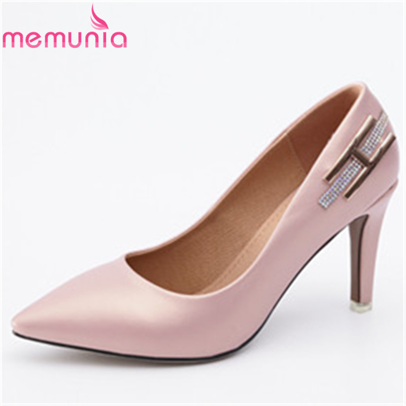 MEMUNIA new arrive pu leather high heels shoes women spring shoes rhinestone fashion party pointed toe pumps simple single shoes memunia 2018 new arrive women pumps