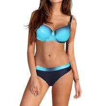 Sexy Stitching Swimwear Women Bikini Set 2019 beach biquini Female Padded Push-up Swimsuit Brazilian Bathing Suit tankini mujer