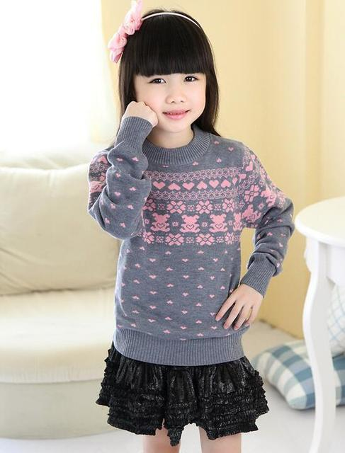 3f0ffd1a High Quality Sweater For girls Winter Woolen Pullover Children Christmas  Sweaters Geometric Long SleeveO-neck