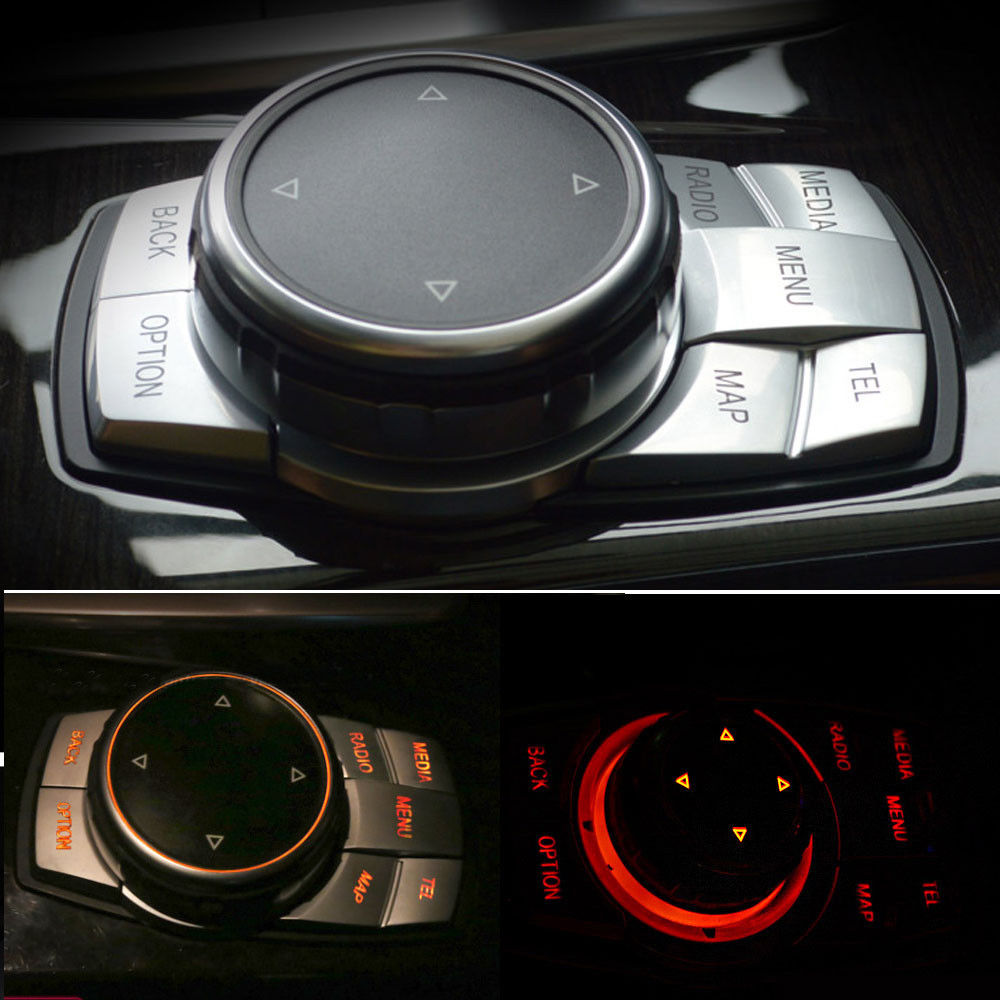 Car Interior Multi-Media Button Cover Trim Lid Styling sticker 5pcs Fit For BMW X5 F15 X6 F16 E70 E71 E72