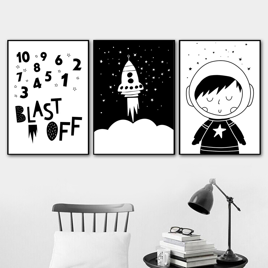 Black White Number Rocket Wall Art Canvas Painting Nordic