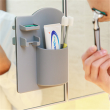 Multi-function pasteable silicone bathroom toothbrush rack wall-mounted toothpaste razor