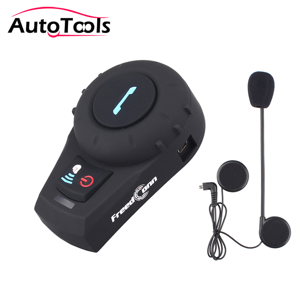 1pc Waterproof Motorcycle Helmet Headset Bluetooth Intercom FDCVB Interphone Headset +Soft Mic Handfree With FM Radio