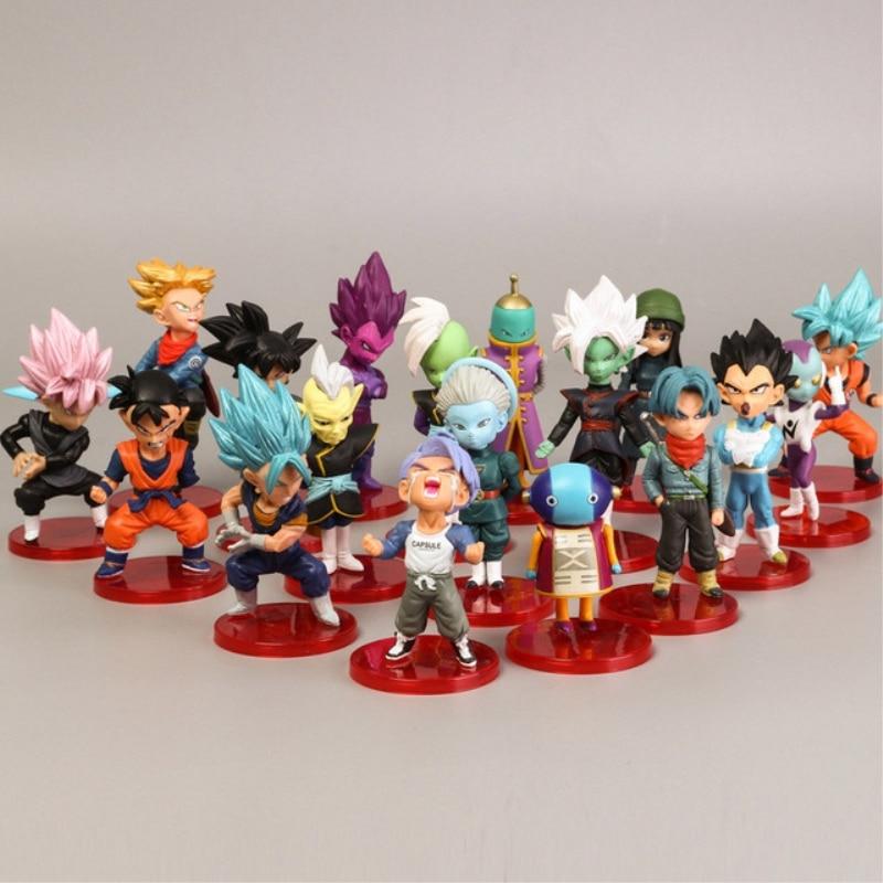 18 Style 8cmX3cm Action Figures  Mini Goku Saiyan Vegeta Gohan Dragon Ball Z Figure Boys Toy PVC Model Anime Collection Kid Toy