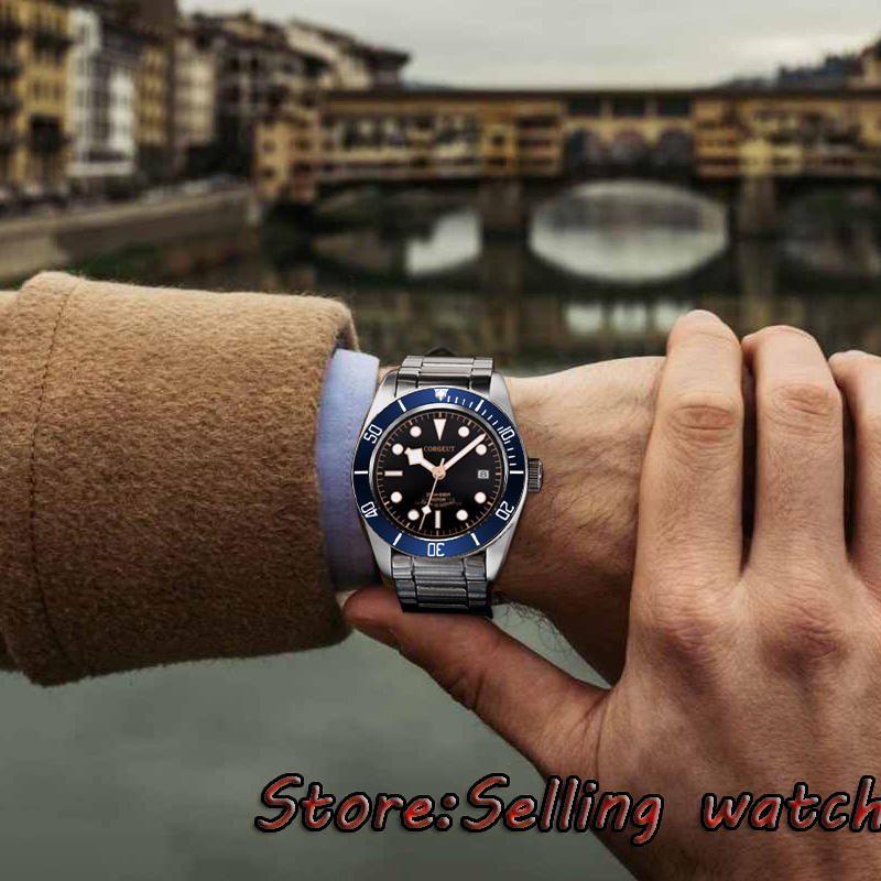 41mm corgeut Sterile dial stainless steel strap Sapphire Glass miyota Automatic mens Watch