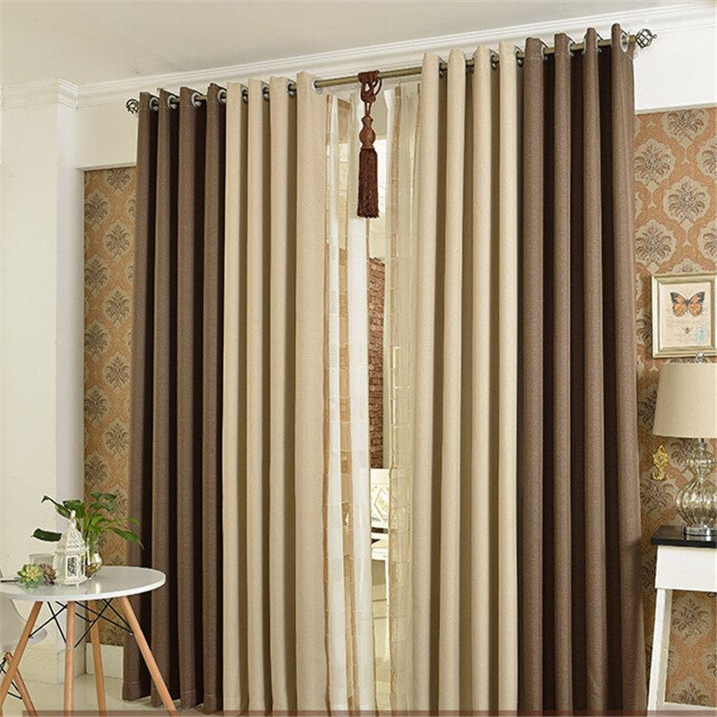[byetee] Beige Coffee Bedroom 85% Blackout Window Kitchen Luxury Curtains Doors For Living Room Window Curtains Curtain Drapes