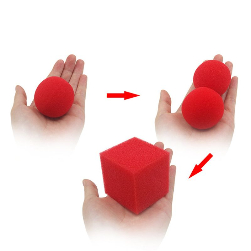 1Block 2 Sponge Balls Magic Props Close Up Street Classical Illusion Magic Tricks Red Magic Toys