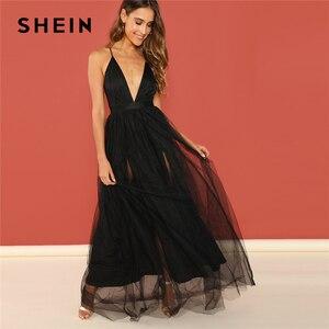 Image 5 - SHEIN bourgogne col plongeant entrecroisé dos Cami robe Maxi plaine Sexy nuit Out robe automne moderne dame femmes robes de fête