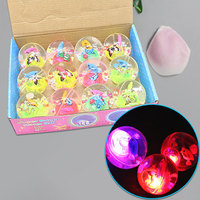 5.5cm Bouncy Elastic Ball Colorful LED Light Up Flash Cartoon Kids String Toys