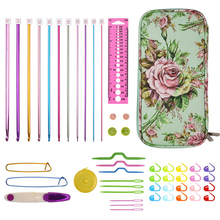 11 Pcs KOKNIT Aluminum Tunisian Afghan Crochet Hooks Set  Kit Mix Scissors Needles Knitting With Bag