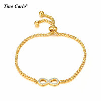 Cubic Zirconia Mini Infinity Eternity Eternal Symbol Love Forever Gift Bracelet S Steel Gold Box Link