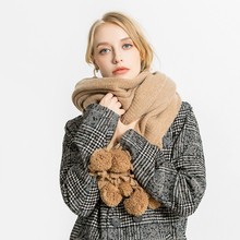 2018 Fashion Pom pom Ball Scarf Women Winter Scarves for Ladies Soft Cashmere Solid Color Winter Warm Scarfs for Girls Thicken girls pom pom solid jumpsuit